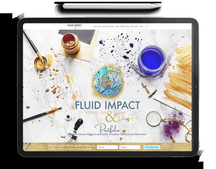 fluid-impact-Jen-Glover-Riggs-Art-website-design